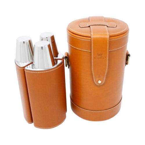 Tan Leather Triple Decanter Bar Set