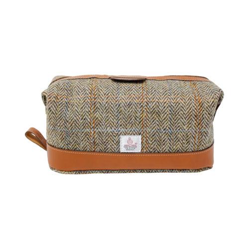 Harris Tweed and Tan Leather Wash Bag