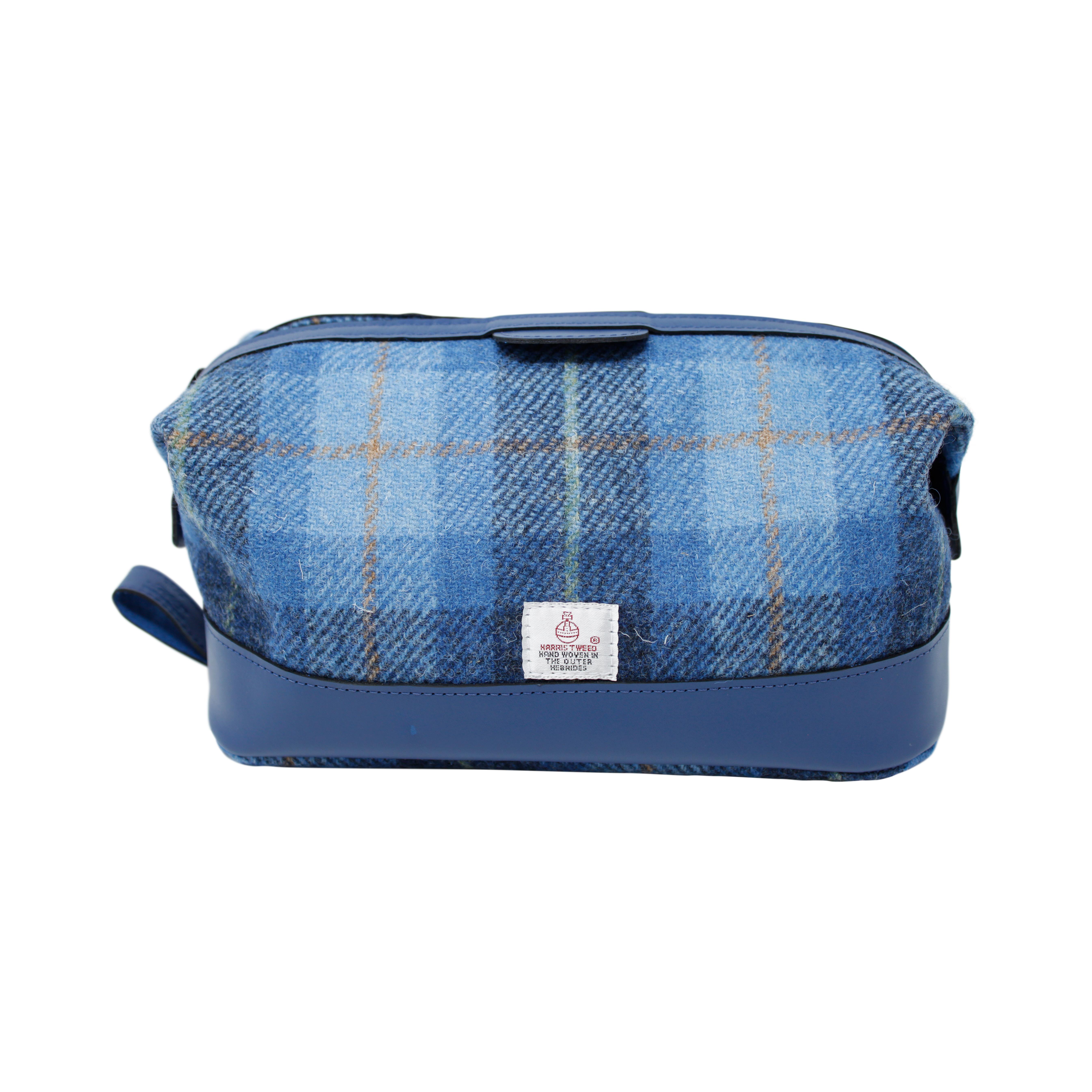 1bafc78121bc Harris Tweed and Blue Leather Wash Bag
