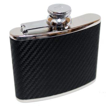 Hand Made Leather 4oz Hip Flask, Black Carbon Fibre - Marlborough Of England