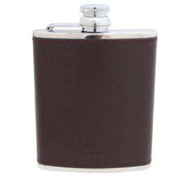 Hand Made Leather 6oz Hip Flask, Burgundy - Marlborough Of England