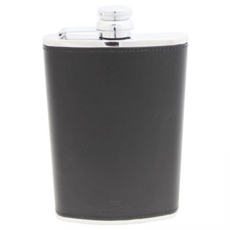 New Style Round Hunting 8oz Hip Flask Black Leather Stainless Steel Hip Flask