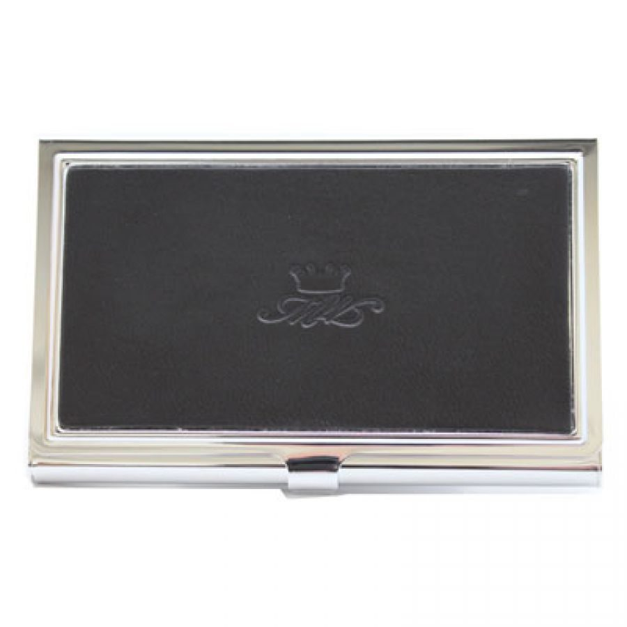 Black leather business card holder marlborough of england for Black leather business card holder