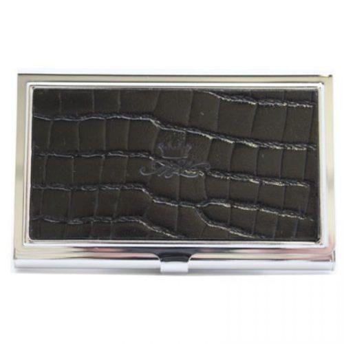 Black Nile Leather Business Card Holder