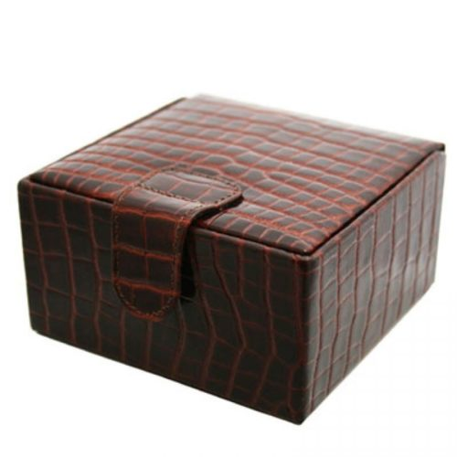 Brown Nile Croc Medium Jewellery Box