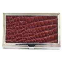 Burgundy Nile Leather Business Card Holder