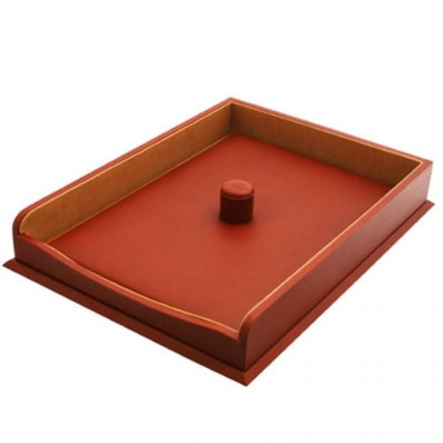 Chestnut Leather Paper Tray