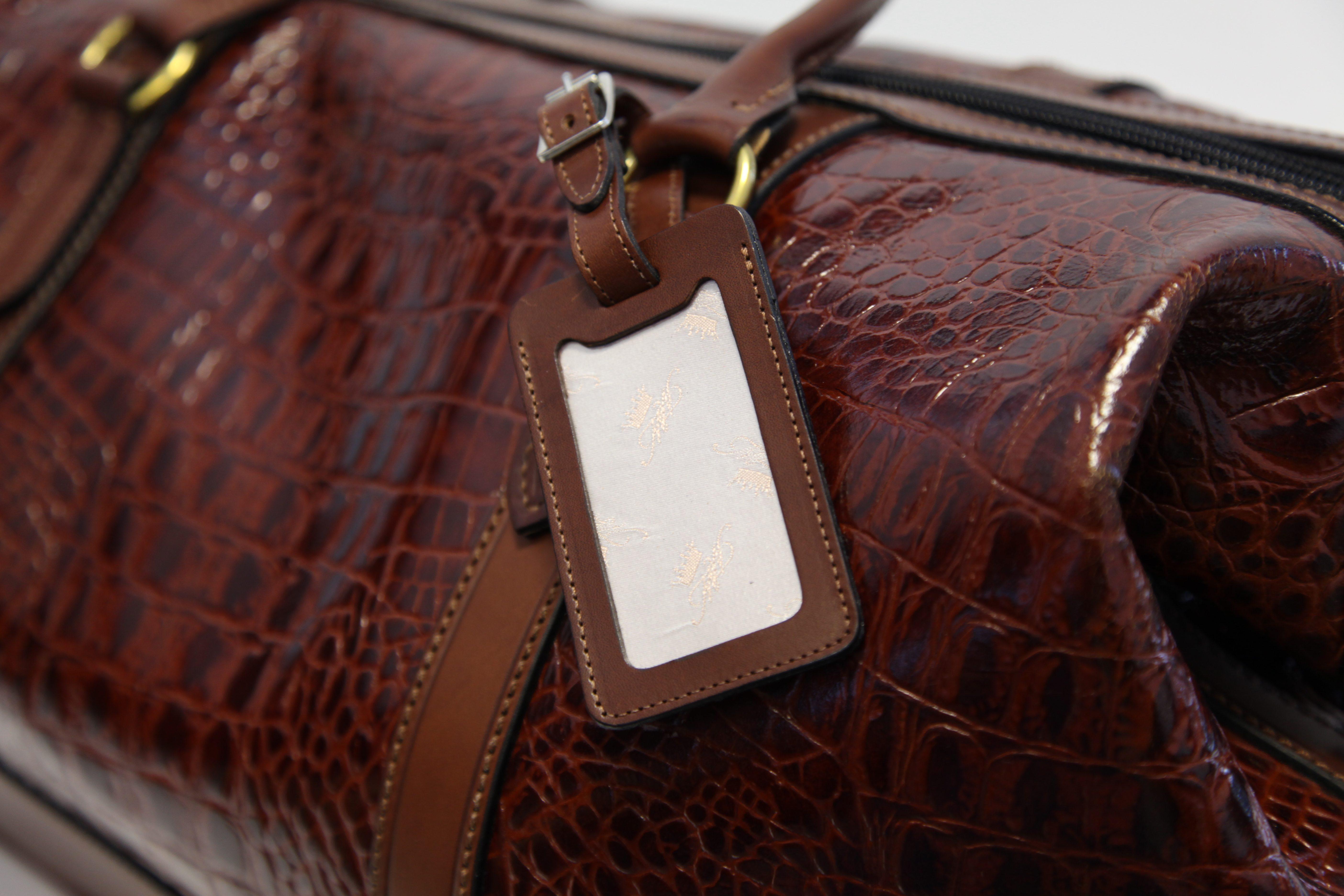 cfd45616b1 Weekend Bag Brown Leather Amazon Croc - Marlborough of England