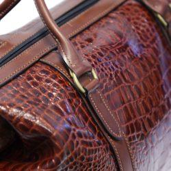 Weekend Bag Brown Leather Amazon Croc