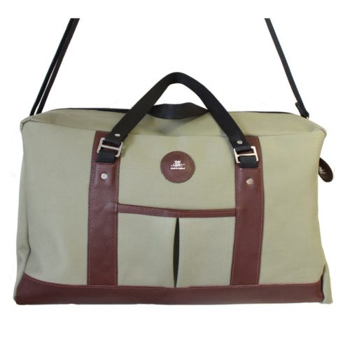 Large Green Canvas and Leather Holdall Bag