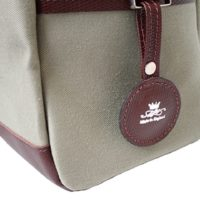 Small Green Canvas and Leather Holdall Bag