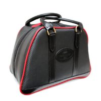 Black and Red Carbon Fibre Leather Helmet Bag