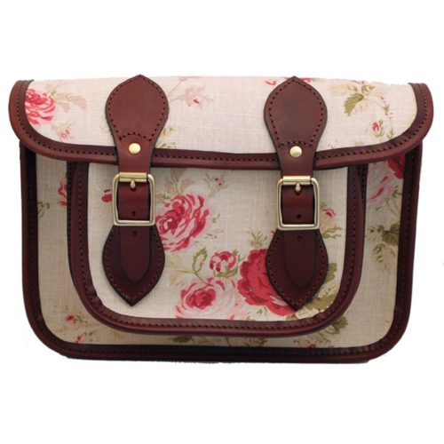 15 inch Rose Patterned Fabric Satchel