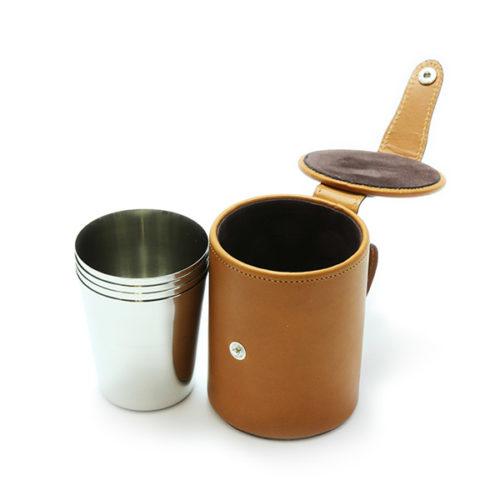 Stirrup Cups in Tan Leather 4 Medium Cups