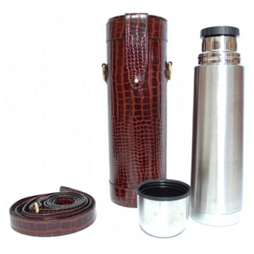 Brown Nile Croc Effect Leather Thermos Flask and Carry Case