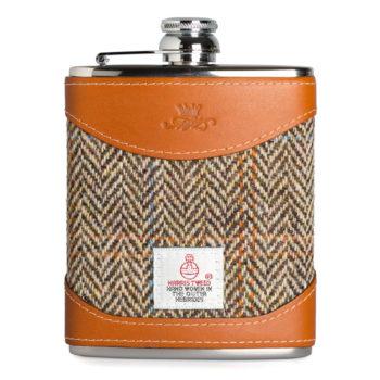 Hand Made Leather 6oz Harris Tweed Hip Flask, Tan - Marlborough Of England