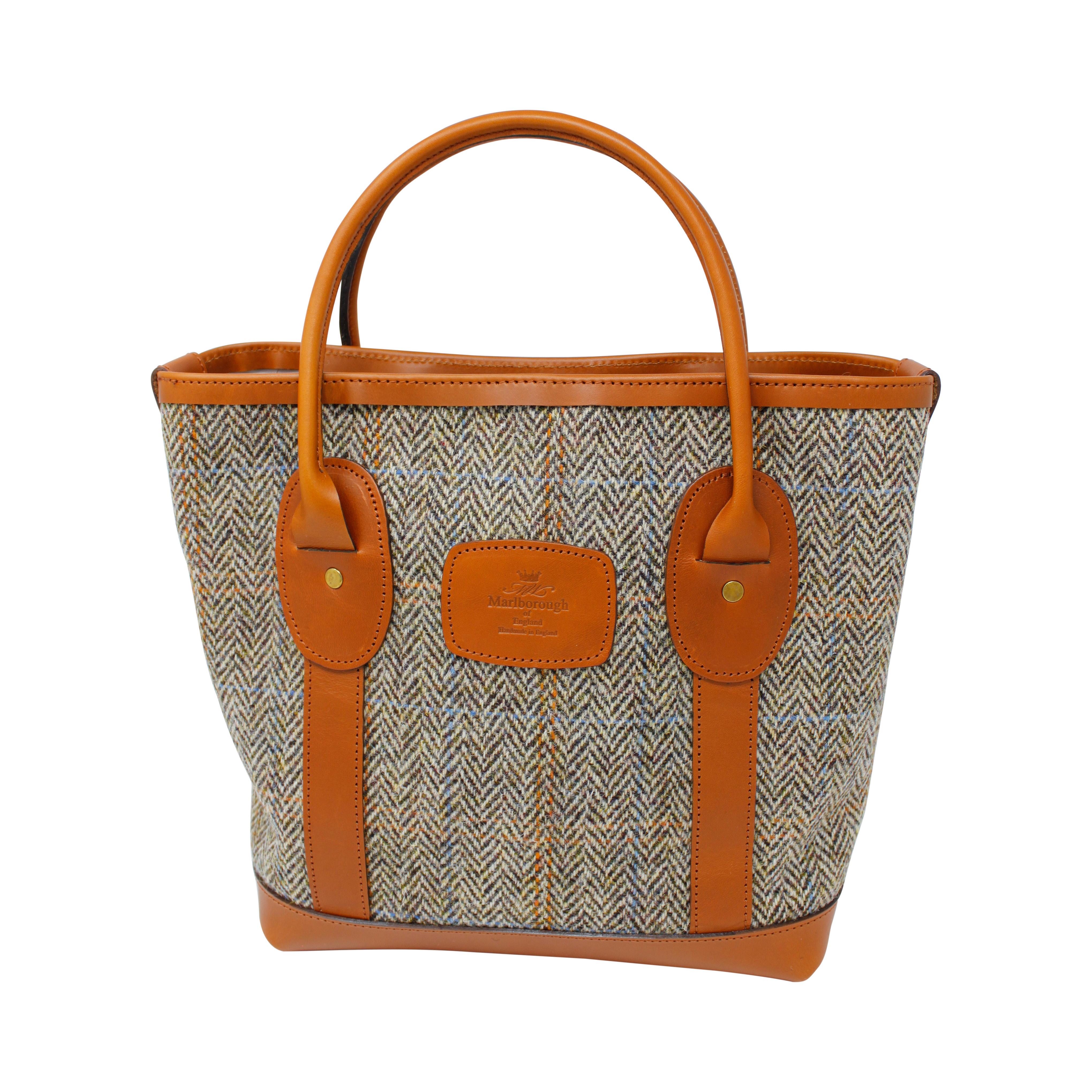 37b86c589538 Mini Tote bag using Tan Harris Tweed and Leather - Marlborough of England