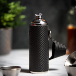 Handmade Leather 10oz Hunter Flask, Black Carbon Fibre - Marlborough Of England