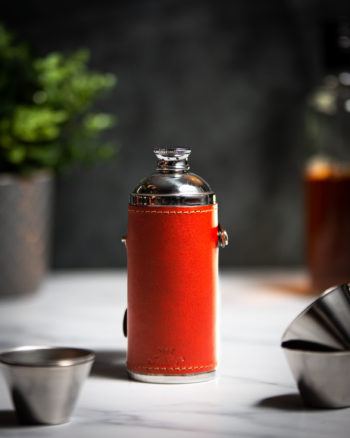 Handmade Leather 8oz Hunter Flask, Chestnut - Marlborough Of England