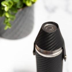 Handmade Leather Hunter Flask, Black Carbon Fibre Top - Marlborough Of England