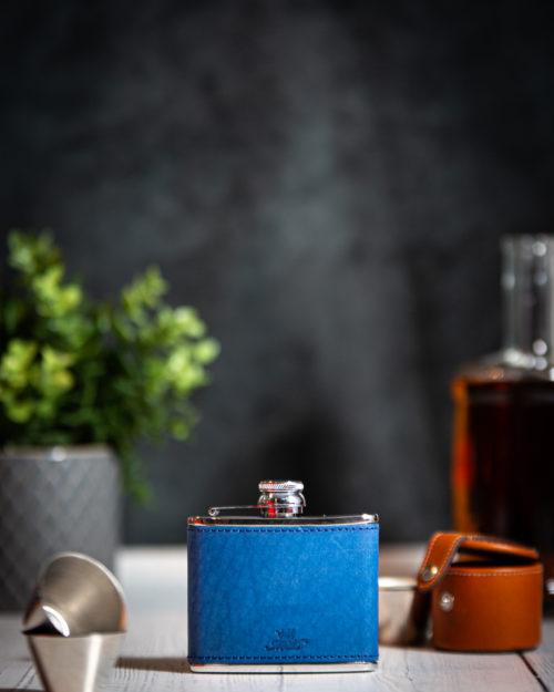 Handmade Leather 4oz Hip Flask, Light Blue - Marlborough Of England