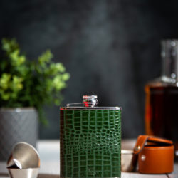 Handmade Leather 6oz Nile Croc Hip Flask, Green - Marlborough Of England