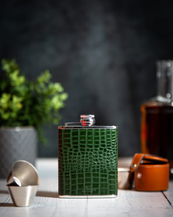 Handmade Leather 6oz Nile Croc Hip Flask, Green - Marlborough Of England