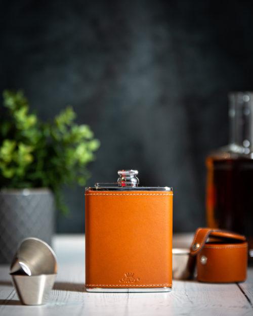 Handmade Leather 6oz Hip Flask, Tan - Marlborough Of England