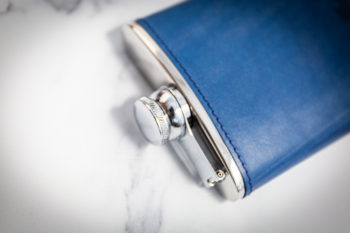 Handmade Leather Hip Flask, Light Blue Top - Marlborough Of England