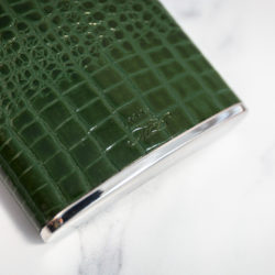 Handmade Leather Nile Croc Hip Flask, Green Bottom - Marlborough Of England