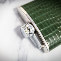 Handmade Leather Nile Croc Hip Flask, Green Top - Marlborough Of England