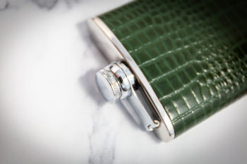 Handmade Leather Nile Croc Hip Flask, Green Top - Marlborough Of England