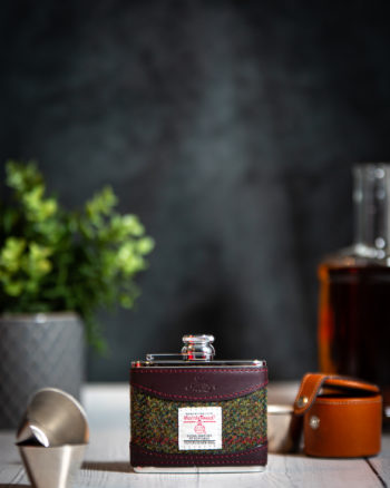 Handmade Leather 4oz Harris Tweed Hip Flask, Burgundy - Marlborough Of England