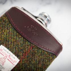 Handmade Leather Harris Tweed Hip Flask, Burgundy Front - Marlborough Of England