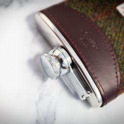 Handmade Leather Harris Tweed Hip Flask, Burgundy Top - Marlborough Of England
