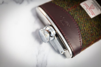 Handmade Leather Harris Tweed Hip Flask, Burgundy Top - Marlborough Of England