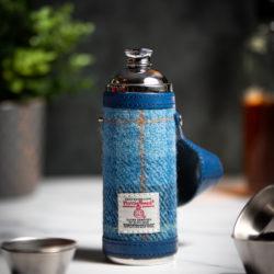 Handmade Leather 10oz Harris Tweed Hunter Flask, Blue - Marlborough Of England