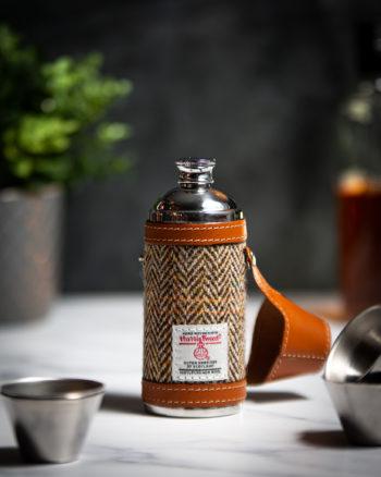 Handmade Leather 8oz Harris Tweed Hunter Flask, Tan - Marlborough Of England