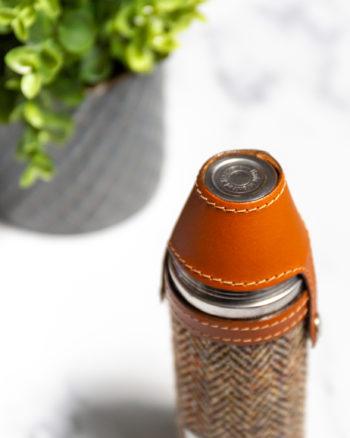Handmade Leather Harris Tweed Hunter Flask, Tan Top - Marlborough Of England